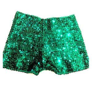Pants - Sequin Green Short Shorts